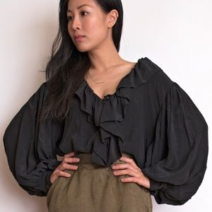 Vintage 80s silk poet sleeve ruffled blouse top